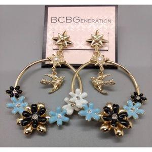 NWT BCBGENERATION Bird Flower Drop Hoop Earrings